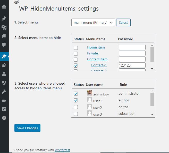 Settings WP-HidenMenuItems
